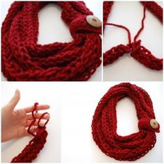 DIY Finger Knit Infinity Scarf