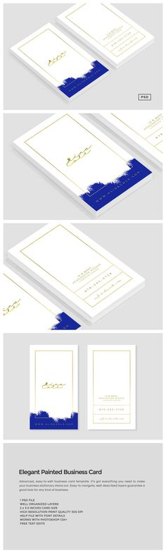 This classy business card template is perfect for anyone who wants to make a style statement and stand out. The design comes with a faux gold foil effect for the text and other elements.