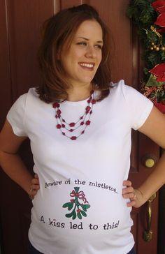 Christmas Maternity Beware of the Mistletoe by BabytalkDesigns