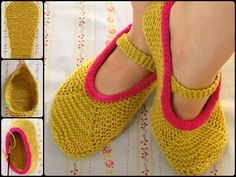 Knitting Mary Jane Slippers with Free Pattern