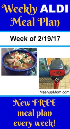 Here's youreasy weekly ALDI meal plan for the week of 2/19/17: Pick up everything on the shopping list below, then start cooking on Sunday! Hope you find it useful. *** Subscribe to the weekly ALDI meal plans here! Note: I try not to repeat the same recipes too often, but you will see favorite easy recipes come up again on these weekly ALDI meal plans as the same meats and produce items come up on sale again. ALDI meal planning  {Read More} Money Saving Meals, Budget Recipes, Aldi Recipes, Low Budget Meals, Food Budget, Group Recipes, Easy Recipes, Meal Planning Board, Weekly Menu Planning
