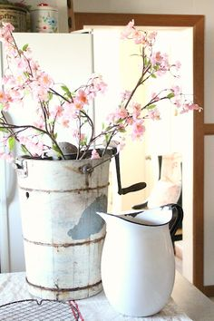 rusty hinge: Another Bucket of Blooms  Old Ice Cream maker, I want!!