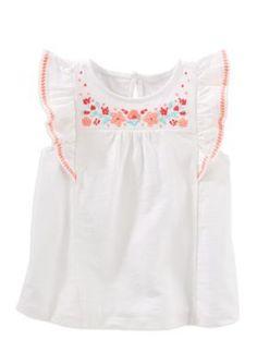 Oshkosh B'gosh Girls' Embellished Flutter-Sleeve Top Toddler Girls -  - No Size