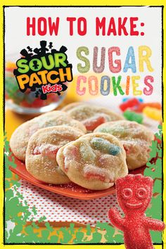 For a delicious treat with a wicked twist summon some spooky fun with Sour Patch Kids Sugar Cookies. Youll have guests howling with delight! Great for a crowd and preps in only 30 minutes. Just Desserts, Delicious Desserts, Yummy Food, Macarons, Cookie Recipes, Dessert Recipes, Dessert Ideas, Baking Recipes, Yummy Recipes