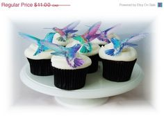 Edible CAKE TOPPERS  12 Hummingbirds  Cupcake by incrEDIBLEtoppers, $10.89