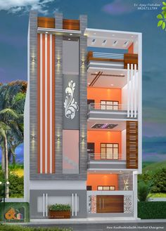 House Outer Design, House Front Wall Design, House Outside Design, Small House Design, Modern Exterior House Designs, Narrow House Designs, Modern Bungalow Exterior, 3 Storey House Design, Duplex House Design