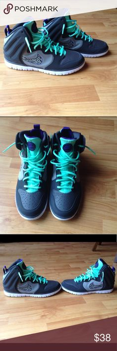 Like New Men's Nike Sneakers Worn Only 1x; Hightop Sneakers in an Attention Grabbing Color Combination! Gray with Animal Print Swoosh, Purple and Bright Mint Green Laces; This are definitely for the person who doesn't mind standing out from the crowd! Nike Shoes Sneakers