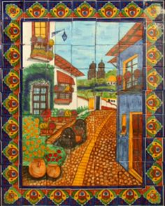 "A Mexican tile mural looks pretty on a kitchen wall backsplash, bathroom wall or table-top. Colorful Colonial Town mural sku 88015 is available in made to order dimensions. rustic tiles can be also installed in swimming pools, fountains and outside of the buildings. Tile Mural ""Colorful Colonial Town"" by Rustica House. #RusticaHouse"