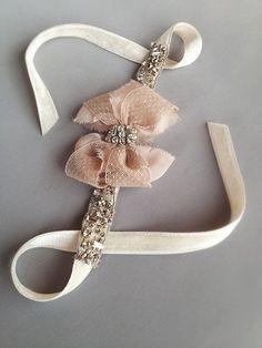 Blush Antique Lace Rhinestone Bow Cuff with Jeweled by EmiciBridal, $80.00