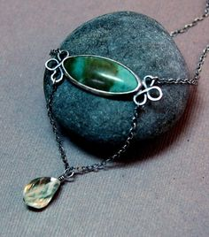 Earth and Sea....Jasper and Prehinite Sterling Silver Neclace via Journeyjewelry