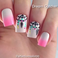 Dream catcher nails by @perfectionnails100  Song: Rose ft. ROZES by The Chainsmokers