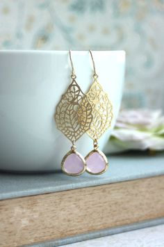 Pink Opal and Gold Filigree Dangle Earrings !  Beautiful Spring Pink Wedding Gift Ideas By Marolsha.