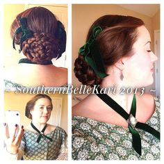 "1860's hairstyle with flat oval braided bun & ""puffed wings"" above ears."