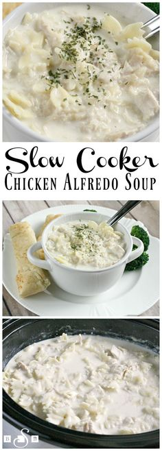 Slow Cooker Chicken Alfredo Soup - a delicious, easy recipe for busy week nights! AD #InspiredGathering recipe from Butter With a Side of Bread