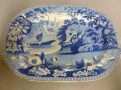 Antique Staffordshire Blue Transfer Huge Platter Lady of The Lake T J Carey | eBay