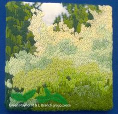 """Piece by Eileen Raynor (part of a larger group piece), member of Embroiderers' Guild Richmond & Leyburn branch. Part of the """"Landscapes and Gardens"""" exhibition at The Garden Rooms at Tennants 7-26 June 2016. Exhibition held as part of the UK's Capability Brown Festival"""