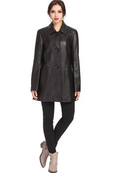 BGSD Women's Three Quarter New Zealand Lambskin Leather A-Line Coat. Check out this great style for $229.99 on Luxury Lane. Click on the image above to get a coupon code for 10% off on your next order.