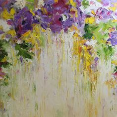 Original Oil Painting Purple Roses Modern Abstract
