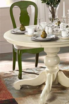 Making me re-think our black, identical dining table. Painting project? Then to paint our farm chairs green!