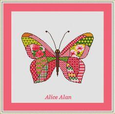 Cross Stitch Pattern Butterfly Patchwork Pink от HallStitch
