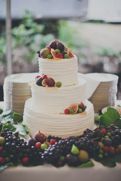 wedding cake with fruit - photo by Terra Lange Photography http://ruffledblog.com/eclectic-washington-coast-wedding