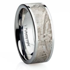 Tungsten Carbide ring inlayed with meteorite. This wedding band is truly out of this world!