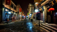 Trey Ratcliff. Into the Night. The restaurants all closed early in this area of Beijing, but the lights stayed on.
