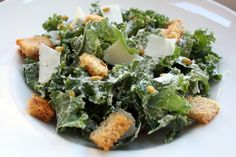 Kale Caesar with Whole Wheat Croutons and Freekeh