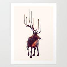 Elk Art Print by Amy Hamilton - $17.00