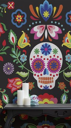 Refresh your room with an extremely unique and colourful wallpaper piece. Perfect for those looking for something different to spice up their home, the Sugar Skull Floral Wall Mural is a stylish creation with a stunning design, ideal for studies, bedrooms and the Halloween season. #wallpaper #murals #wallmurals #interior #interiordesign #design #home #homedecor #interiordecor #accentwall #inspiration #Ihavethisthingswithwalls #halloween