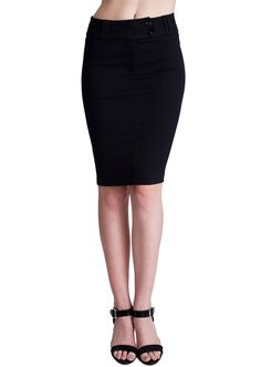 Double Button Pencil Skirt SK1209B, clothing, clothes, womens clothing, jeans, tops, womens dress