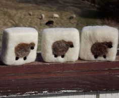 Sheepy felted soap - THIS is the design I have to try! (But w/white sheep on black felting :)