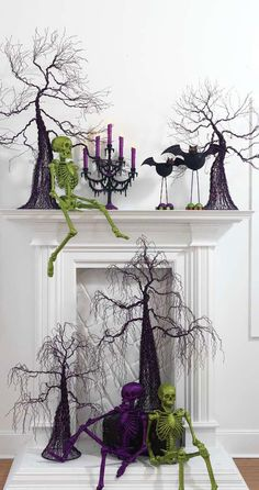 wire trees- halloween