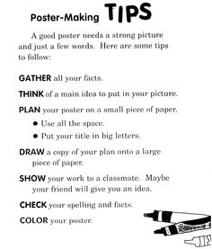 Great reminders when kids create on chart paper!