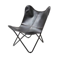 Vintage Butterfly Chair Black Leather Seat Room Accent Industrial Furniture Modern BKF Sling Chair Black Leather Occasional Hairpin Legs