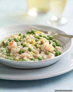 Barley Risotto with Shrimp and Peas  A smattering of sweet peas and a good measure of rock shrimp turn a humble bowl of pearl barley into a serious risotto.