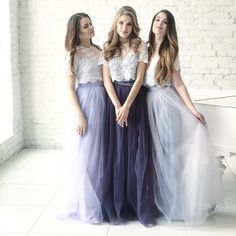 lace bridesmaids Belle Dress Tulle Set Lace Crop Top with Sleeves and Tulle skirt long, Lace Crop Top, Bridesmaids Dress, Tulle Blush Pink Blue Grey Skirt Separate THIS LACE TOP with Two Piece Bridesmaid Dresses, Tulle Skirt Bridesmaid, Lavender Bridesmaid Dresses, Grey Bridesmaids, Tulle Wedding, Wedding Dresses, Dresses Dresses, Boho, Tulle Skirts