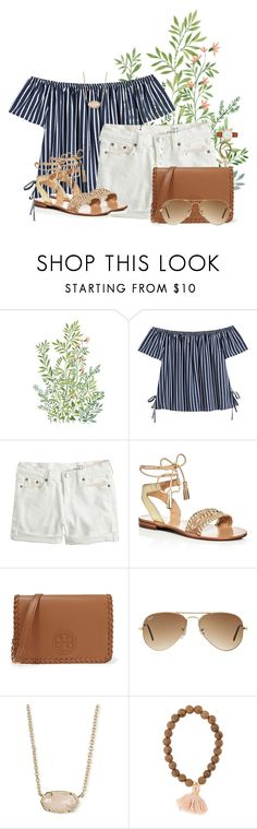 """""""Last day in Jacksonville!"""" by annaewakefield ❤ liked on Polyvore featuring J.Crew, Jack Rogers, Tory Burch, Ray-Ban, Kendra Scott and Kate Spade"""