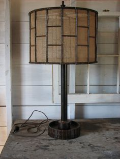 Vintage Industrial Lamp with Burlap Shade by SnodonIron on Etsy, $400.00