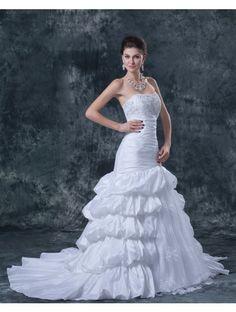 Wedding Dresses Wedding Dresses,Stkittsipa A-line Strapless Sleeveless Taffeta White Wedding Dress With Pick-up Skirt #Wedding#Dresses