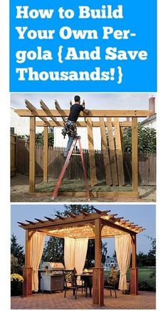 Awesome How to Build Your Own Pergola And Save Thousands! The post How to Buil… Awesome How to Build Your Own Pergola And Save Thousands! The post How to Build Your Own Pergola And Save Thousands!… appeared first on Pirti Decor . Backyard Projects, Outdoor Projects, Backyard Patio, Backyard Landscaping, Diy Landscaping Ideas, Diy Backyard Ideas, Backyard Makeover, Pallet Projects, Gazebos