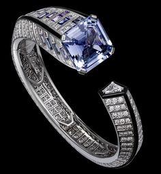 Precious Lines and Architectures – High Jewelry Bracelet Platinum, one 25.42-carat square-shaped sapphire, baguette-cut sapphires, baguette-cut diamonds, one triangular-shaped diamond, onyx, brilliants - Cartier
