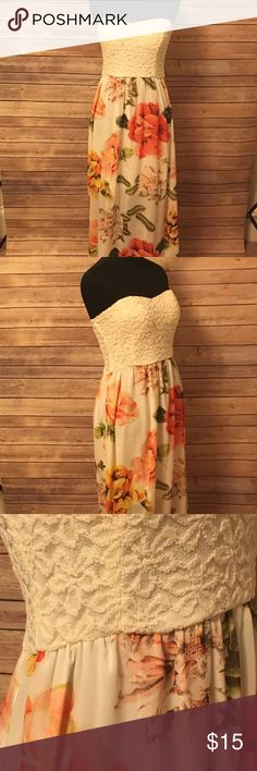 """Floral Maxi Stapless with Lace Bodice 50% Nylon 40% Chinille 10% Spandex, measured laying flat on the floor. Bust: 13.5% Length: 53.5"""" Waist: 13"""" Coveted Clothing Dresses Maxi"""