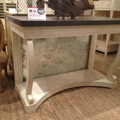 Positano Console with Sable Top, Oyster Base with antique mirror back. USA made and available in 40 finishes!