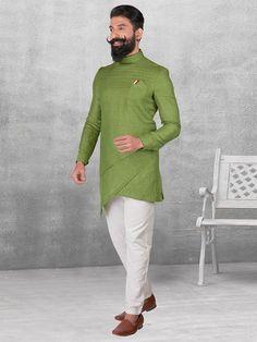 Shop Olive silk fabric kurta suit online from India. Indian Groom Wear, Indian Wedding Wear, Pathani For Men, Wedding Kurta For Men, Gents Kurta Design, Pathani Kurta, Orange Suit, Ethinic Wear, Kurta Men