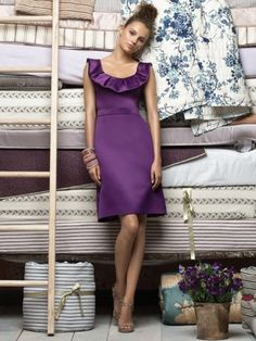 (NO.018643 )Sheath / Column Scoop  Ruffles  Sleeveless Knee-length  Satin Grape Cocktail Dress / Homecoming Dress