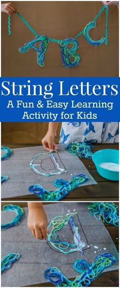 String Letters – An Alphabet Craft with Game Ideas for Kids How to Make String Letters with Yarn and Glue – This is a fun and easy Alphabet Craft for kids. It includes alphabet Game Ideas for Kids using the string letters. Crafts For Boys, Projects For Kids, Art For Kids, Craft Projects, Arts And Crafts, Craft Ideas, Yarn Crafts Kids, Project Ideas, Diy Crafts For Kids Easy