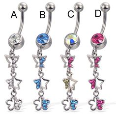 Belly button ring with dangling jeweled butterfly, star, and flower. #bellyring #piercing #bodypiercings #bodyjewelry #butterfly ♥ $8.99 via OnlinePiercingShop.com
