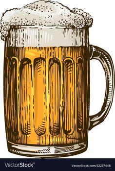 Beer in glass mug with foam Hand drawn vector image on VectorStock Beer Cartoon, Batman Poster, Glass Beer Mugs, Bumper Stickers, Vintage Posters, Vinyl Decals, Retro Vintage, How To Draw Hands, Illustration