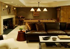 Basement design photos, ideas and inspiration. Amazing gallery of interior design and decorating ideas of basements by elite interior designers. Basement Movie Room, Cozy Basement, Game Room Basement, Basement Bedrooms, Basement Ideas, Open Basement, Basement Fireplace, Basement Pool, Basement Decorating